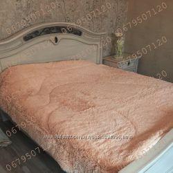 стеганное меховое покрывало одеяло травка