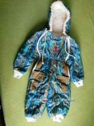 Слитный комбинезон с вышивкой до 1года на искусственном меху