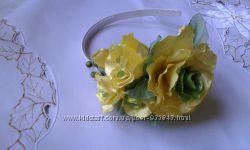 Обруч с желтыми розами ручной работы