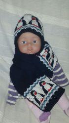 Зимняя шапочка и шарфик до 46см
