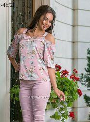 Блузка -топ на 50-52р из нежного шелка-ниже опт. цены