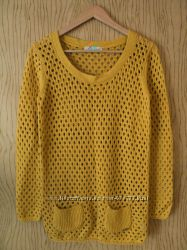 Джемпер в дырочку пуловер желтый с длинным рукавом вязаный стильный кофта