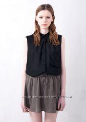 Новый Топ PULL&BEAR черный рубашка блузка без рукава с воротником карманом