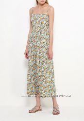 Платье сарафан Oodji макси в пол длинный длинное цветочный цветочек принт