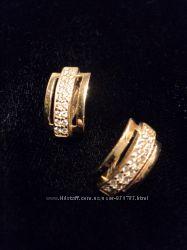 Новые серьги золотые золото 585 3, 56 грамма фианит цирконий английский кам