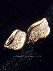 Серьги золотые золото 585 2, 26 грамма фианит английский замок сережки камни