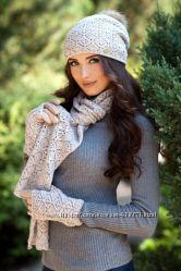 Ажурный комплект шапка, шарф и перчатки. Разные цвета