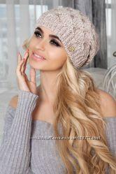 Тёплая вязаная шапка на флисе. В наличии