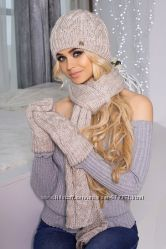 Зимний комплект шапка, шарф и варежки. Разные цвета