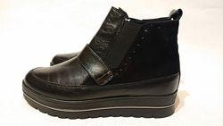 Женские кожаные деми ботинки 38р кожа замша демисезонные утепленные