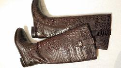 Женские демисезонные сапоги calipso 40р кожа тиснение под кожу рептили