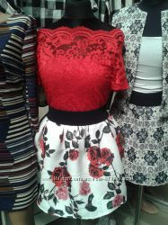 Костюм с юбкой Италия платье новинка блуза гирпюр