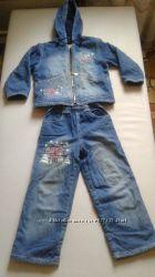Джинсовый утепленный костюм, комплект, куртка, штаныGloria Jeans