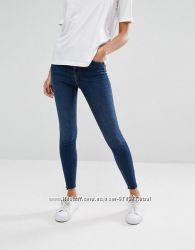 Модные темно-синие потертые джинсы скинни new look , размер uk8 eu36