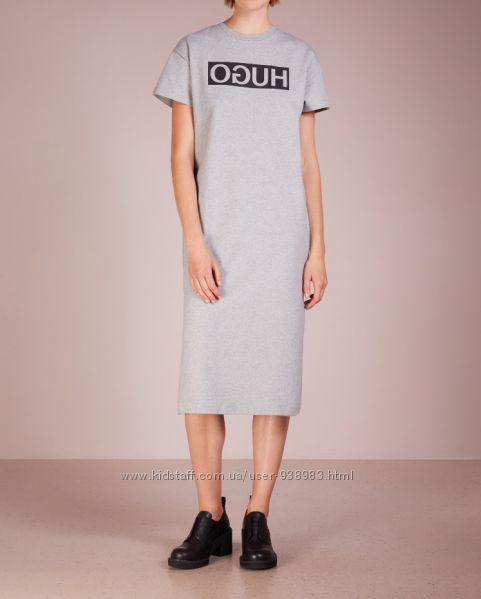 Хлопковое серое платье-футболка миди hugo boss, длинное спортивное платье