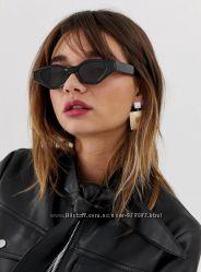 Черные солнцезащитные очки кошачий глаз asos, очки кошечки, очки 90х