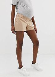 Шорты чиносы с эластичным поясом под животиком asos, шорты для беременных