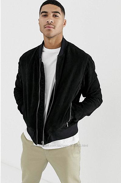 Мужская черная замшевая куртка бомбер bolongaro Trevor замшевый бомбер