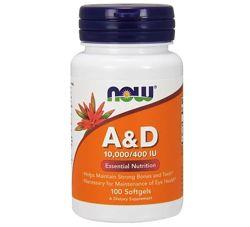 Вітаміни NOW Foods Vitamin A & D 10,000/400 IU 100 Softgels