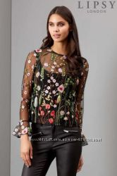 Блузка с цветочной вышивкой Lipsy, р. 44-46
