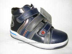 Ботинки детские KLF демисезон. для мальчика. р. 27-32 синие с серым