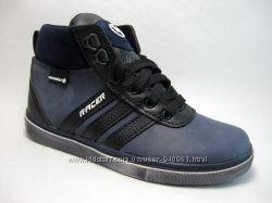 Кожанные подростковые ботинки. р. 34-35 синие