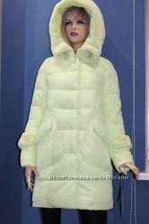 Куртка- красавица фисташкового цвета с мехом под шиншилу Hailuozі Л-ХЛ