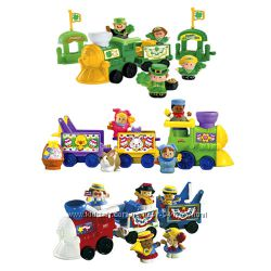 Fisher-Price Little People три разных красочных набора поезда и человечки.