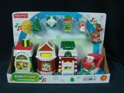 Fisher-Price Little People Christmas Village елка санта олень санки домики.