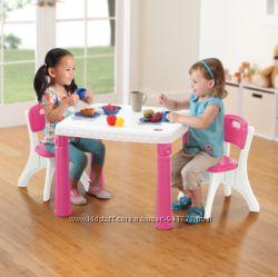 Комплект мебели Стол и два стульчика Step2. Белый с розовым.
