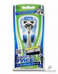Мужские станки для бритья DORCO Pace 6 Plus со сменными картриджами.