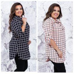 Красивая блуза-рубашка в расцветках и размерах 52, 54, 56, 58, 60 , 62