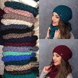 Красивые комплекты шапка и хомут в расцветках