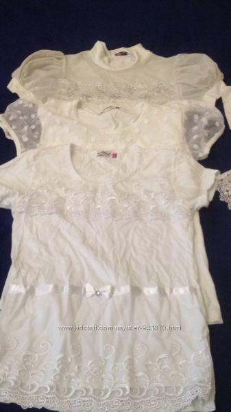 Школьные блузки короткий рукав рост 152-158 5штук