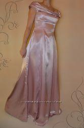 Нарядное платье атласное в пол. Макси - розовое.