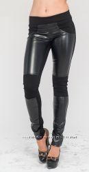 Лосины с кожаными вставками черные