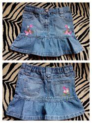 Фірмова джинсова спідничка з вишитими квіточками Denim
