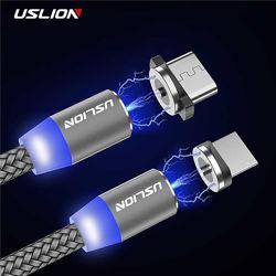 Магнитные кабели USLION Micro USB, Type-C 2.4A с подсветкой