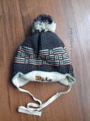 Двойная шапочка осень-весна на завязках на 1-3 года