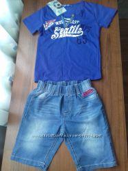 Комплект на лето джинсовые шорты, футболка4 года новый с этикеткой