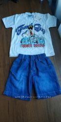 Комплект, костюм футболка и джинсовые шорты на мальчика 3-4  года