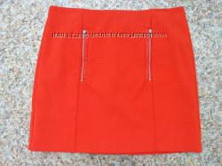 680c7f21f8a Красная юбка с карманами и отделкой из эко кожи