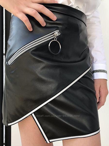 Мегакрутая юбка из эко-кожи для девочки - подростка
