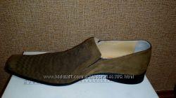 Весенне летние мужские туфли из нубука коричневые