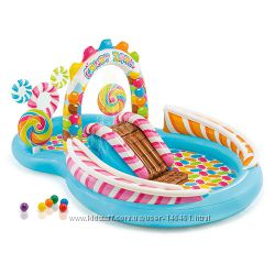 Детский надувной игровой центр с горкой Intex 57149 Карамель