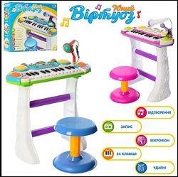 Детский синтезатор пианино Joy Toy 7235 с микрофоном и стульчиком