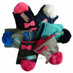 Комплект шапка шарф зимние на флисе 2-8лет