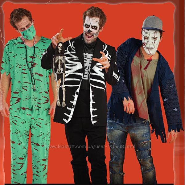 Карнавальные костюмы для мужчин зомби, скелет, дракула, врач