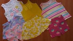 Брендовые комплекты на малышку 1-2 годика, юбки, майки, шорты, регланы