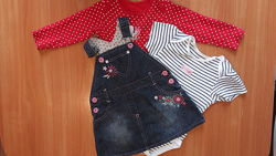 Сарафан джинсовый на малышку 6-18 месяцев. Бодики в подарок